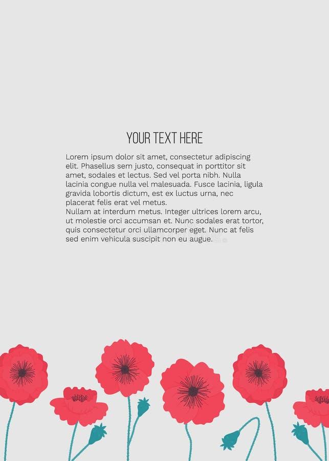 Illustrazione di estate di vettore con i fiori dei papaveri con il posto per testo su fondo grigio illustrazione di stock