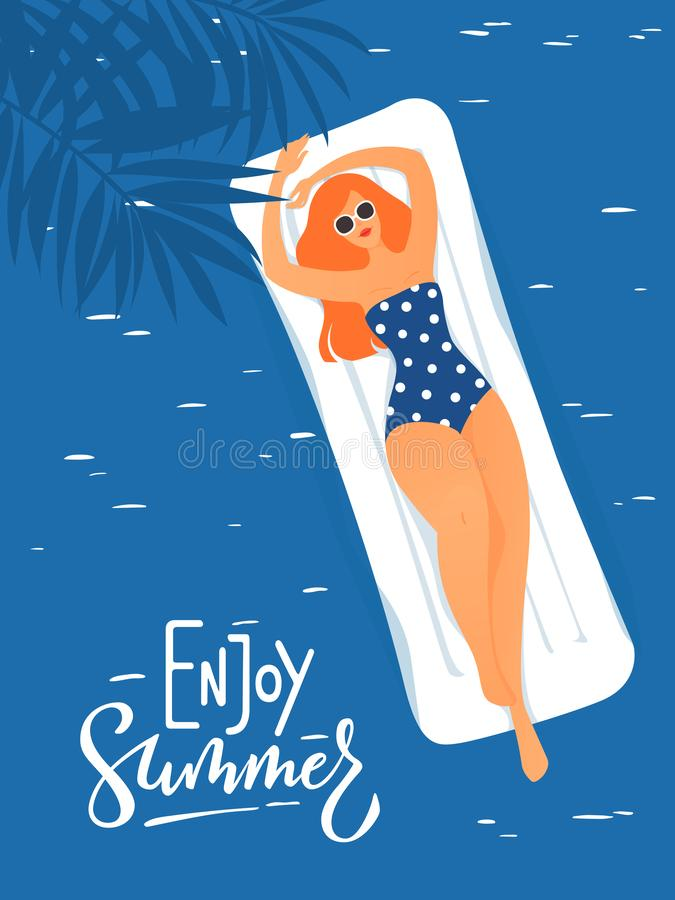 Illustrazione di estate di vettore con la giovane donna che ha resto in una piscina illustrazione vettoriale