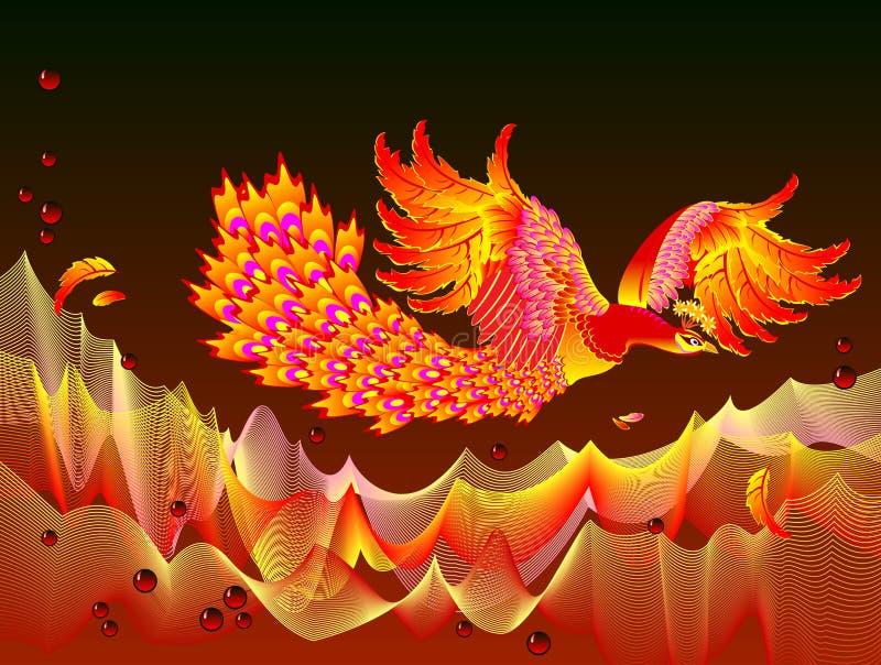 Illustrazione di fantasia del volo dell'Fuoco-uccello fra le onde della fiamma Copertura per il libro di fiaba dei bambini illustrazione vettoriale