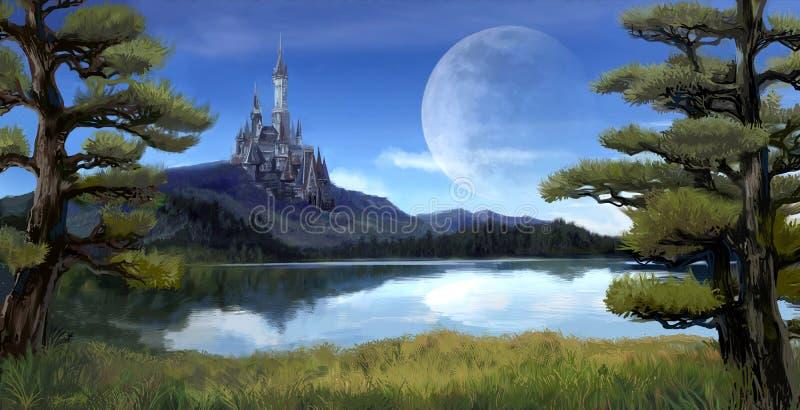 Illustrazione di fantasia dell'acquerello di un lago naturale della riva del fiume illustrazione vettoriale