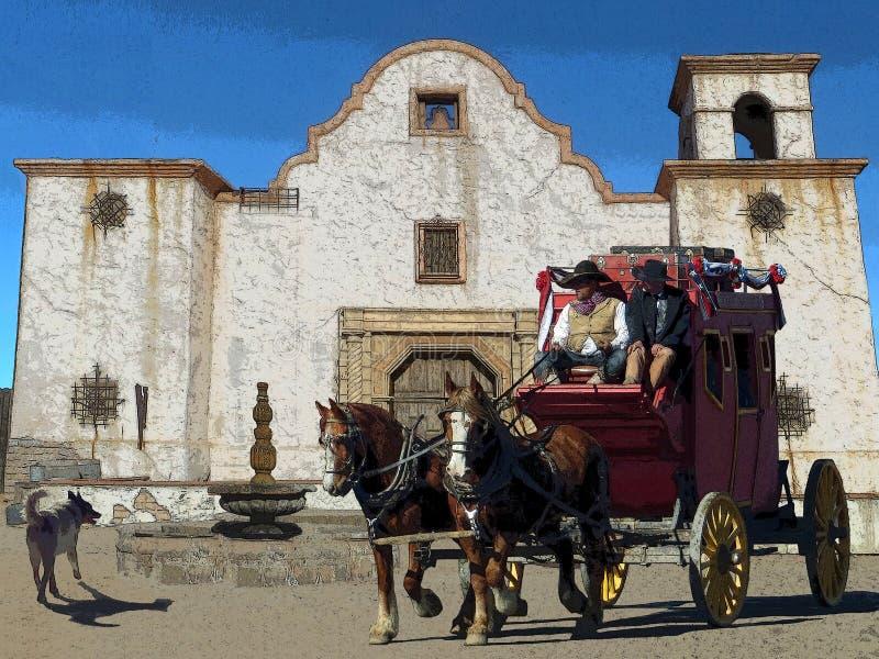 Illustrazione di fantasia di un brontolio della diligenza in una città occidentale come passa una vecchia missione illustrazione vettoriale