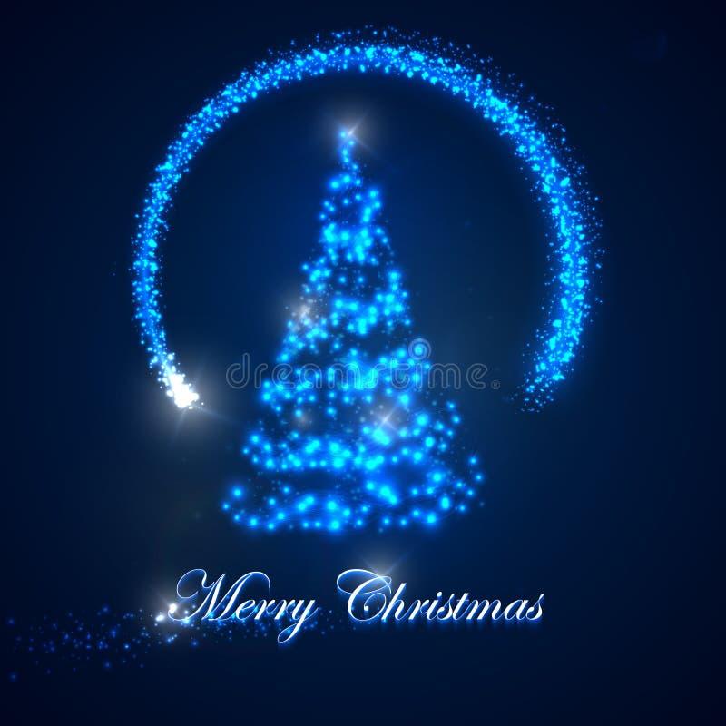 Illustrazione di festa dell'albero di Natale scintille brillanti delle luci e stella di magia di volo Buon Natale illustrazione di stock