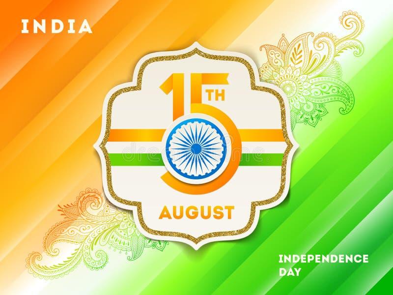 Illustrazione di festa dell'indipendenza dell'India La struttura di carta con la data di festa e Ashoka spingono illustrazione di stock