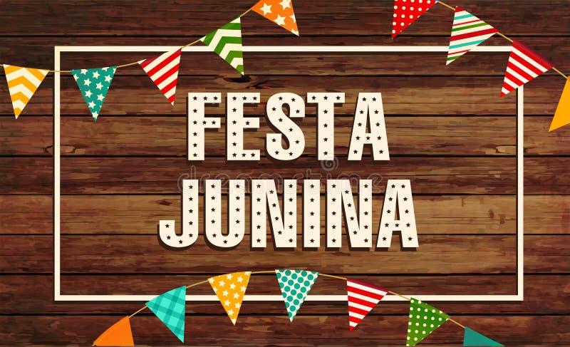 Illustrazione di Festa Junina - partito tradizionale di festival del Brasile giugno Illustrazione di vettore Festa dell'America l illustrazione di stock