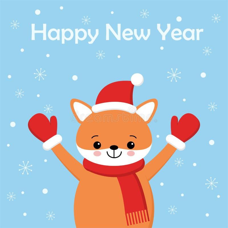 Illustrazione di festa di vettore di una volpe sveglia in un cappello Buon Natale e buon anno Fondo di Natale con il fumetto sorr illustrazione vettoriale