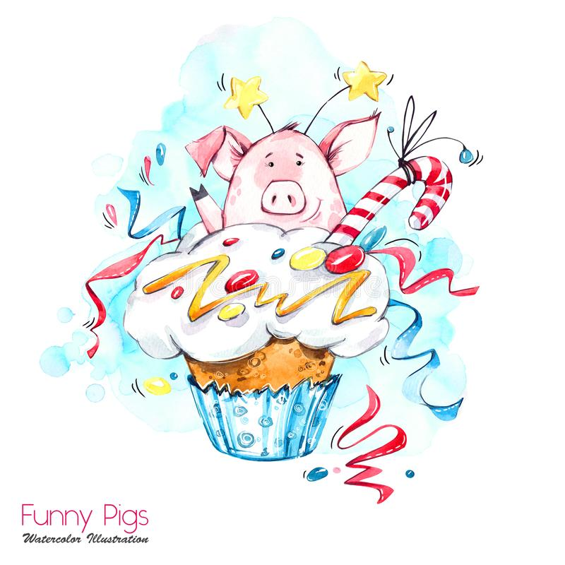 Illustrazione di feste di saluto Maiale del fumetto dell'acquerello in bigné con crema e coriandoli Dessert divertente Compleanno illustrazione di stock