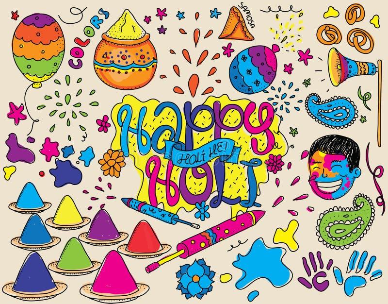Illustrazione di festival di Holi Insieme degli oggetti isolati di vettore illustrazione vettoriale