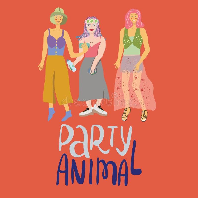 Illustrazione di festival di musica della ragazza illustrazione di stock