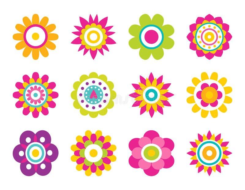 Illustrazione di fioritura di vettore della raccolta dei fiori illustrazione di stock