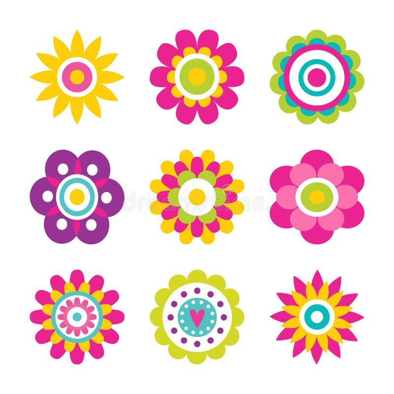 Illustrazione di fioritura di vettore della raccolta dei fiori illustrazione vettoriale