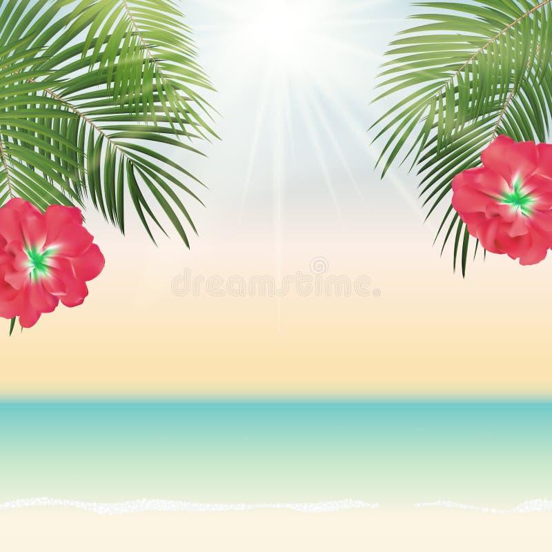 Illustrazione di foglia di palma del fondo di vettore di ora legale illustrazione di stock