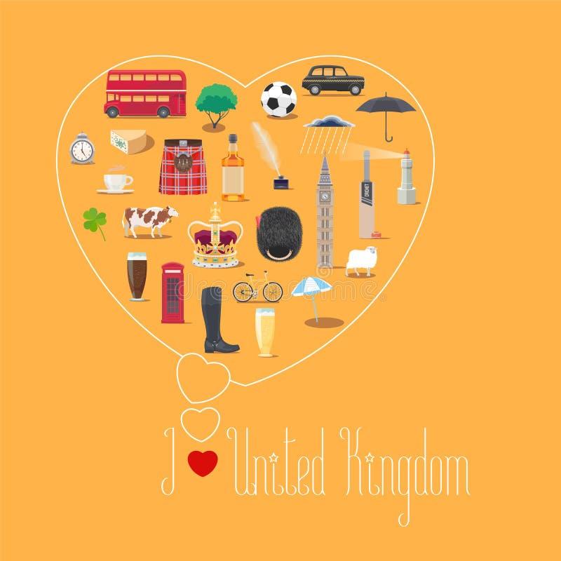 Illustrazione di forma del cuore con la citazione del Regno Unito di amore di I illustrazione vettoriale