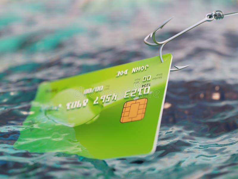 Illustrazione di frode 3d della carta di credito di pesca illustrazione vettoriale