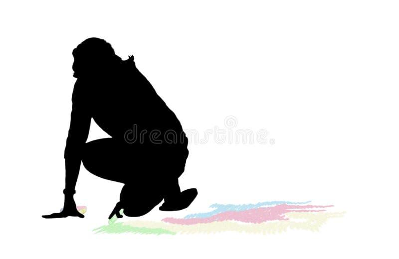 Illustrazione di gesso della donna immagini stock
