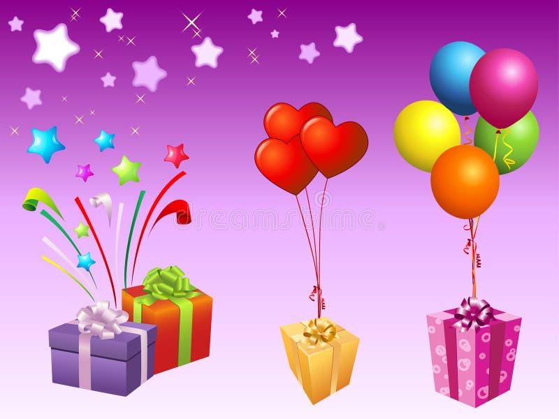 Illustrazione di giftbox e dell'aerostato royalty illustrazione gratis
