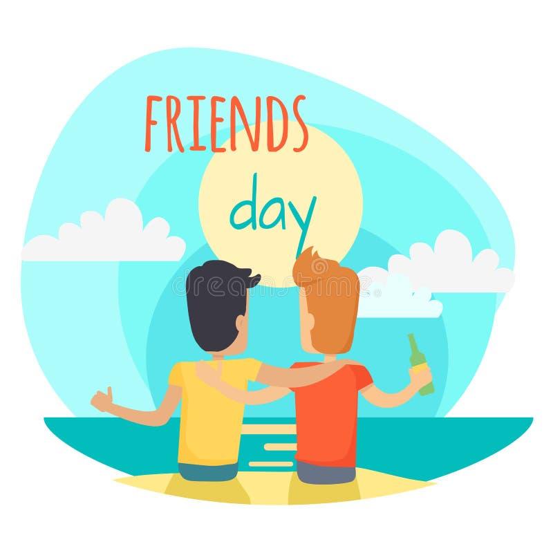Illustrazione di giorno degli amici Due amici si siedono sulla spiaggia illustrazione vettoriale