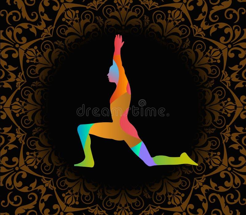 Illustrazione di giorno di yoga del mondo, fondo del modello illustrazione di stock