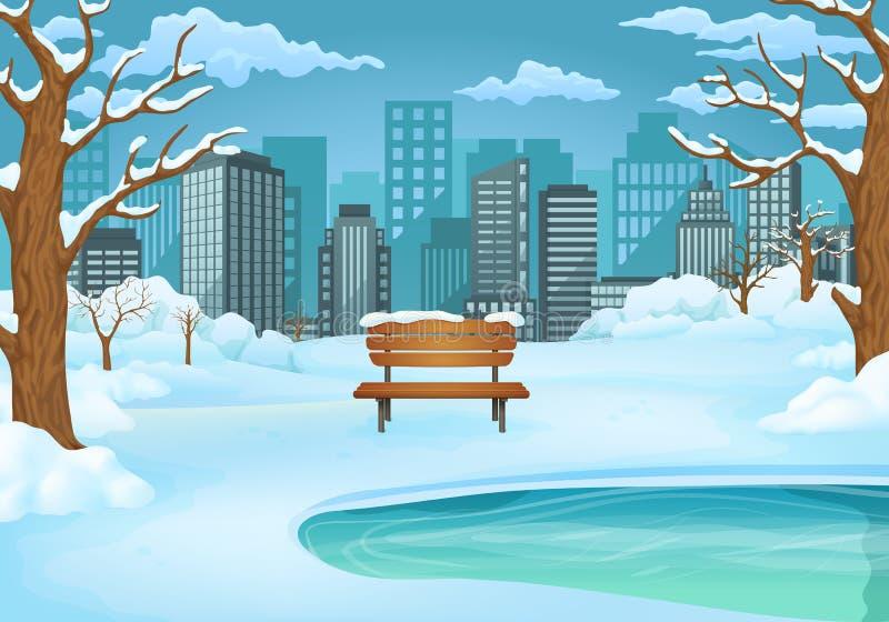 Illustrazione di giorno di inverno Banco di legno innevato dal lago congelato con gli alberi sfrondati ed il paesaggio urbano royalty illustrazione gratis