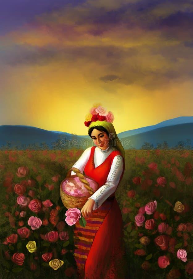 Illustrazione di giovane ragazza bulgara che indossa abbigliamento tradizionale e che piking sulle rose