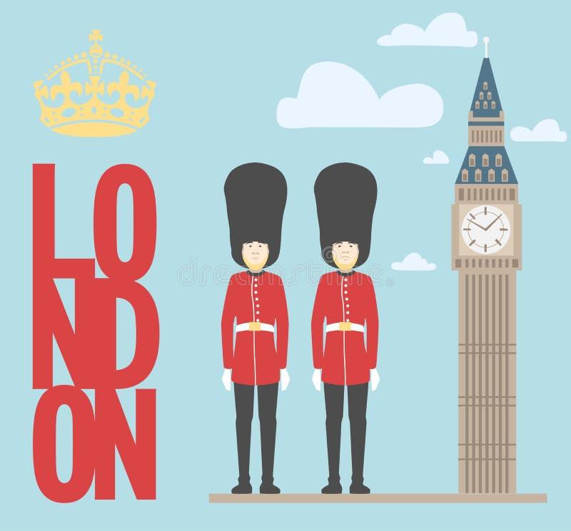 Illustrazione di grandi Ben Tower e guardiani su fondo illustrazione vettoriale