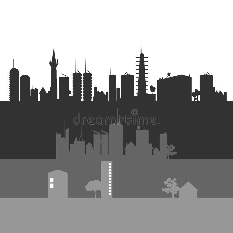 Illustrazione di grey di arte di vettore di arte della città illustrazione vettoriale