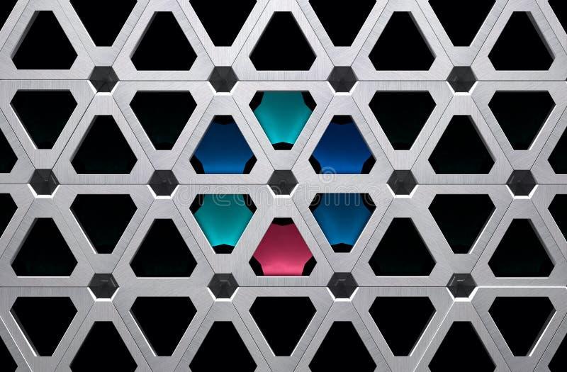 Illustrazione di griglia 3D del metallo di High Tech con i segmenti colorati illustrazione vettoriale