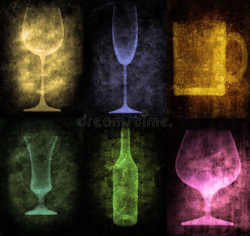 Illustrazione di Grunge con la bottiglia ed i vetri royalty illustrazione gratis