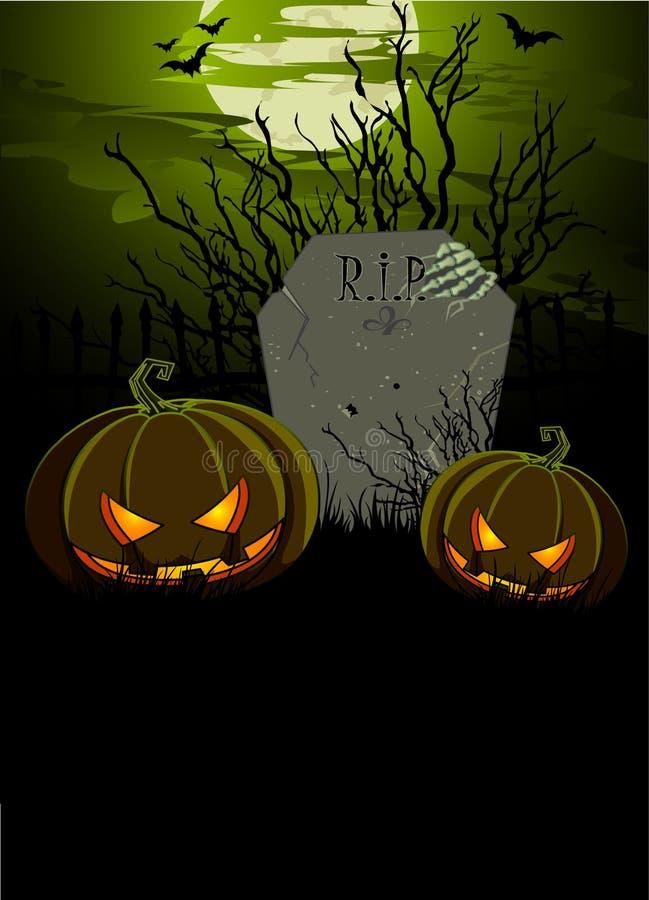 Illustrazione di Halloween con la pietra tombale e le zucche royalty illustrazione gratis