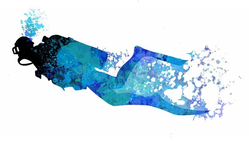 Illustrazione di immersione con bombole L'operatore subacqueo di nuoto ha isolato firma dentro lo stile piano del fumetto royalty illustrazione gratis