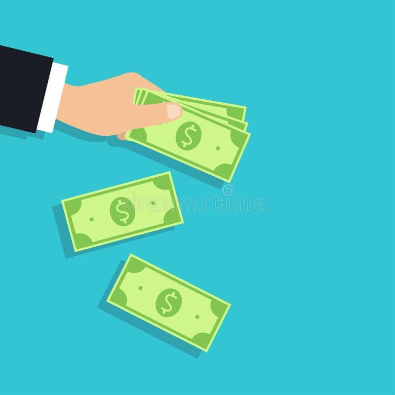 Illustrazione di indennità soldi in mano, vettore illustrazione di stock