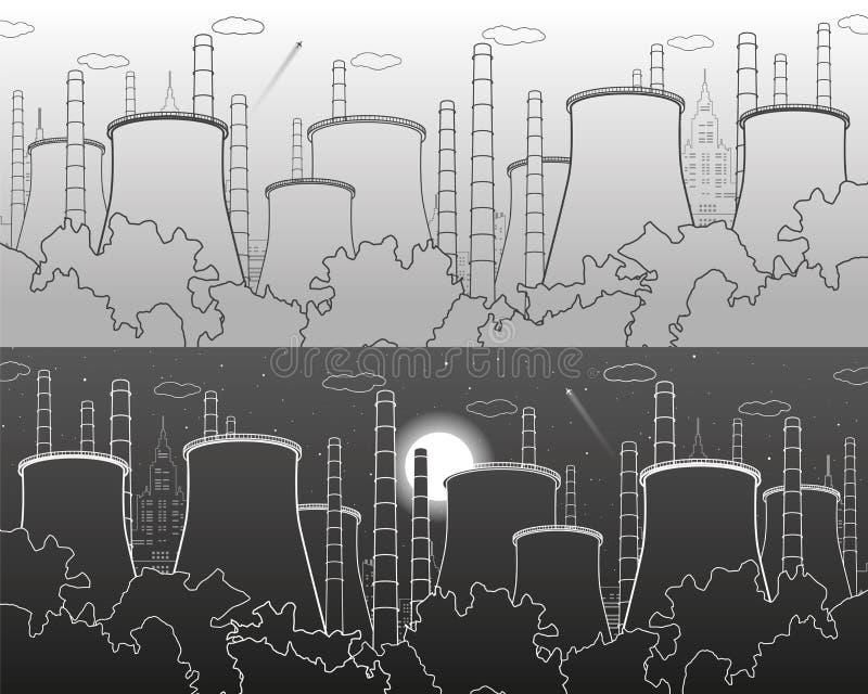 Illustrazione di industria Centrale elettrica del termale della fabbrica Scena urbana Tubi e fumo Linee bianche e grige su backgr illustrazione di stock