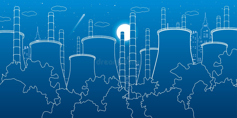 Illustrazione di industria Centrale elettrica del termale della fabbrica Scena urbana Tubi e fumo Linee bianche su fondo blu Prog illustrazione vettoriale