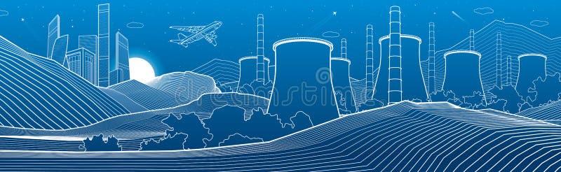 Illustrazione di industria del profilo panoramica Scena della citt? di notte Centrale elettrica in montagne Linee bianche su fond illustrazione di stock