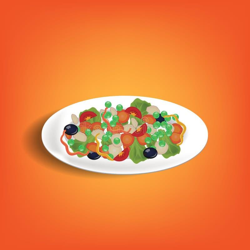 Illustrazione di insalata fresca con lattuga, i pomodori e le olive Verdura fresca e piatto verde dell'insalata della foglia illustrazione vettoriale