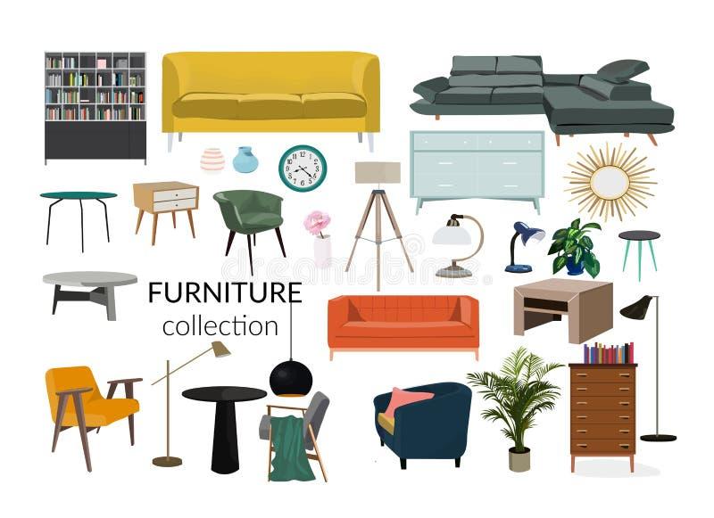 Illustrazione di interior design di vettore Insieme della raccolta degli elementi mobilia d'avanguardia del progettista royalty illustrazione gratis