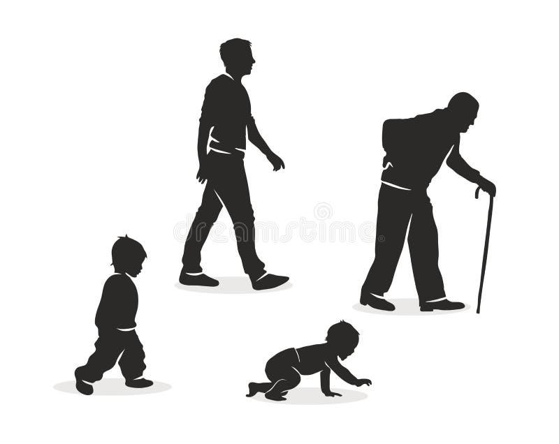 Illustrazione di invecchiamento umano. illustrazione di stock