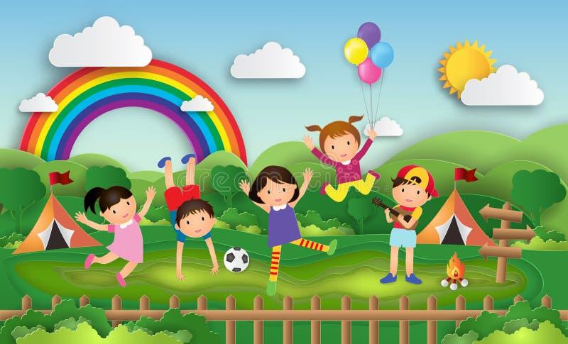 Illustrazione di istruzione del campeggio estivo dei bambini con i bambini che fanno a royalty illustrazione gratis