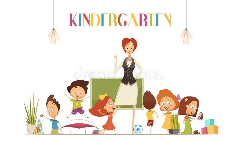 Illustrazione di With Kids Cartoon della mæstra d'asilo royalty illustrazione gratis