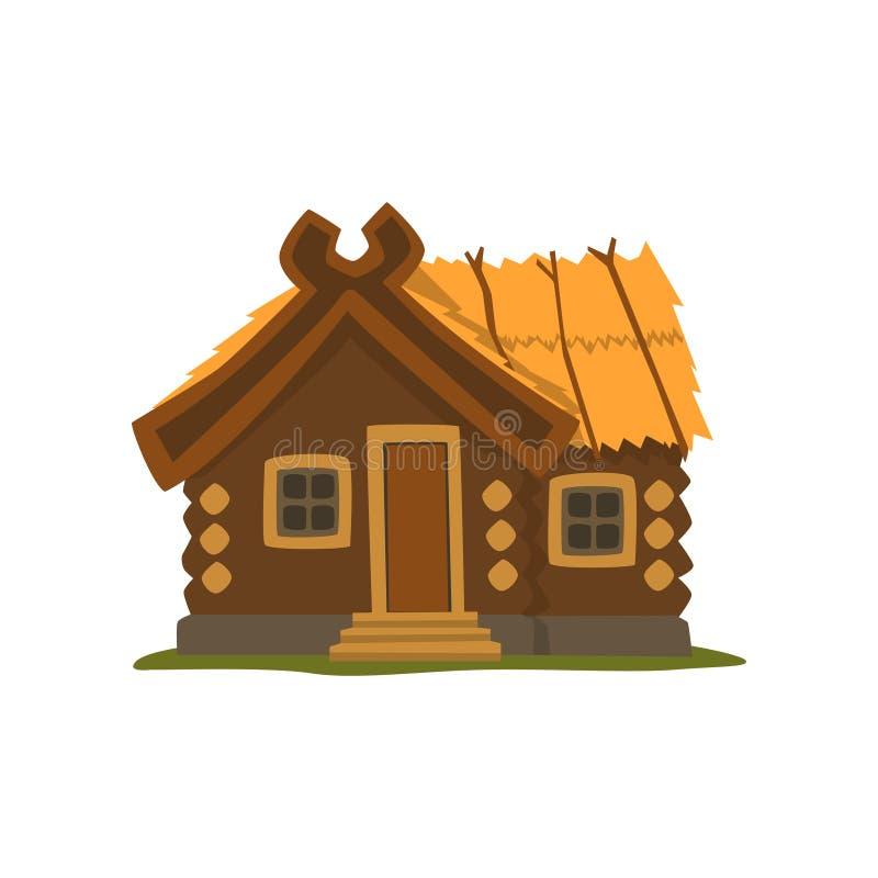 Illustrazione di legno rustica di vettore della cabina di ceppo su un fondo bianco illustrazione di stock