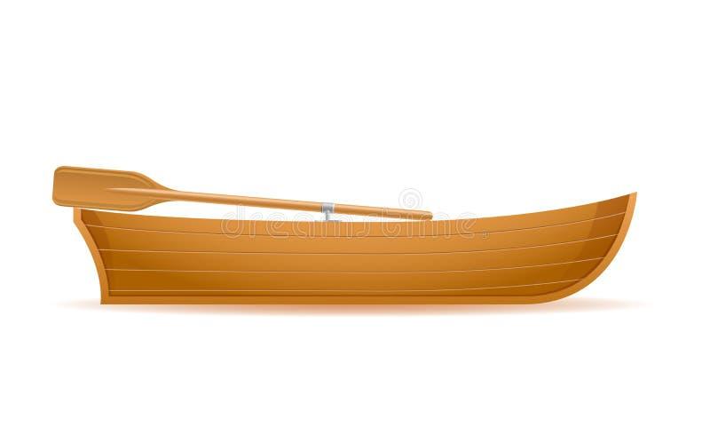 Illustrazione di legno di vettore di vista laterale della barca royalty illustrazione gratis