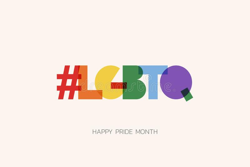 Illustrazione di LGBT Pride Month con il testo di tipografia nel colore dell'arcobaleno Manifesto, carta, insegna e fondo Illustr fotografia stock libera da diritti