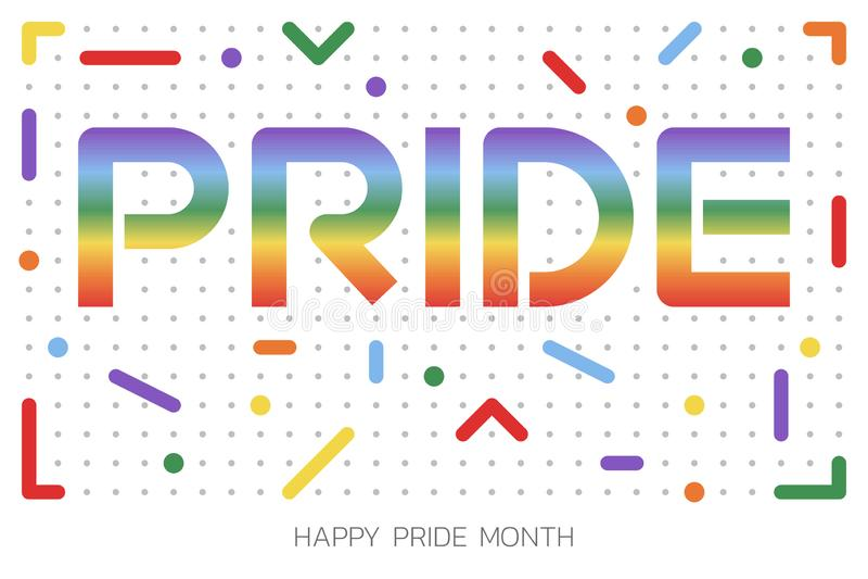 Illustrazione di LGBT Pride Month con il testo di tipografia nel colore dell'arcobaleno Manifesto, carta, insegna e fondo Illustr fotografia stock