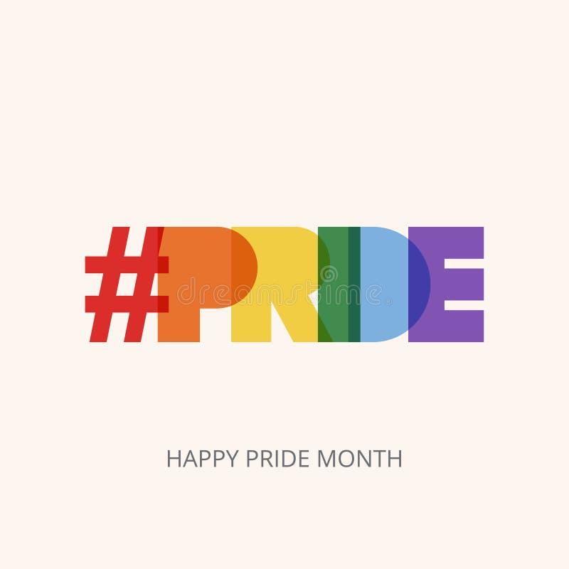 Illustrazione di LGBT Pride Month con il testo di tipografia nel colore dell'arcobaleno Manifesto, carta, insegna e fondo Illustr illustrazione vettoriale