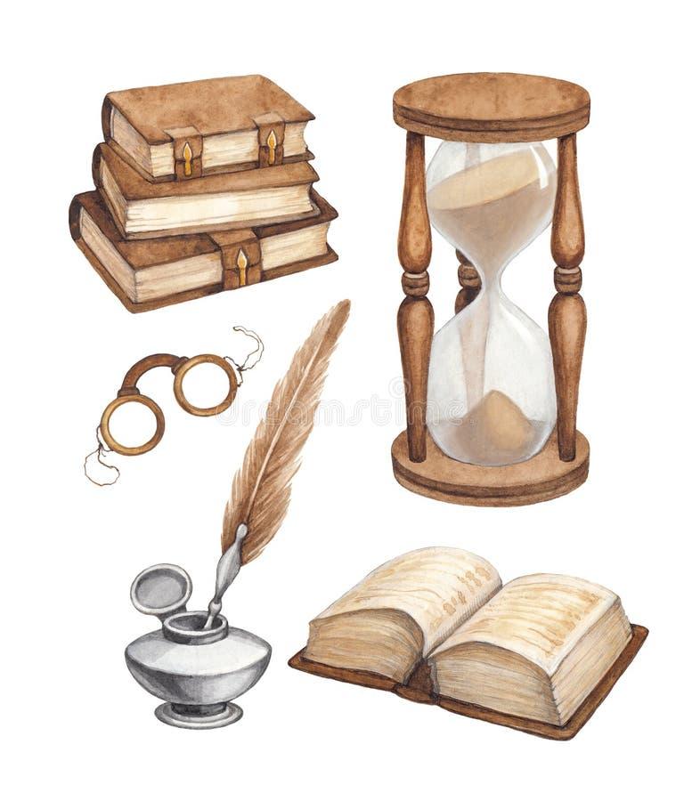 Illustrazione di libri d'annata dell'acquerello illustrazione di stock