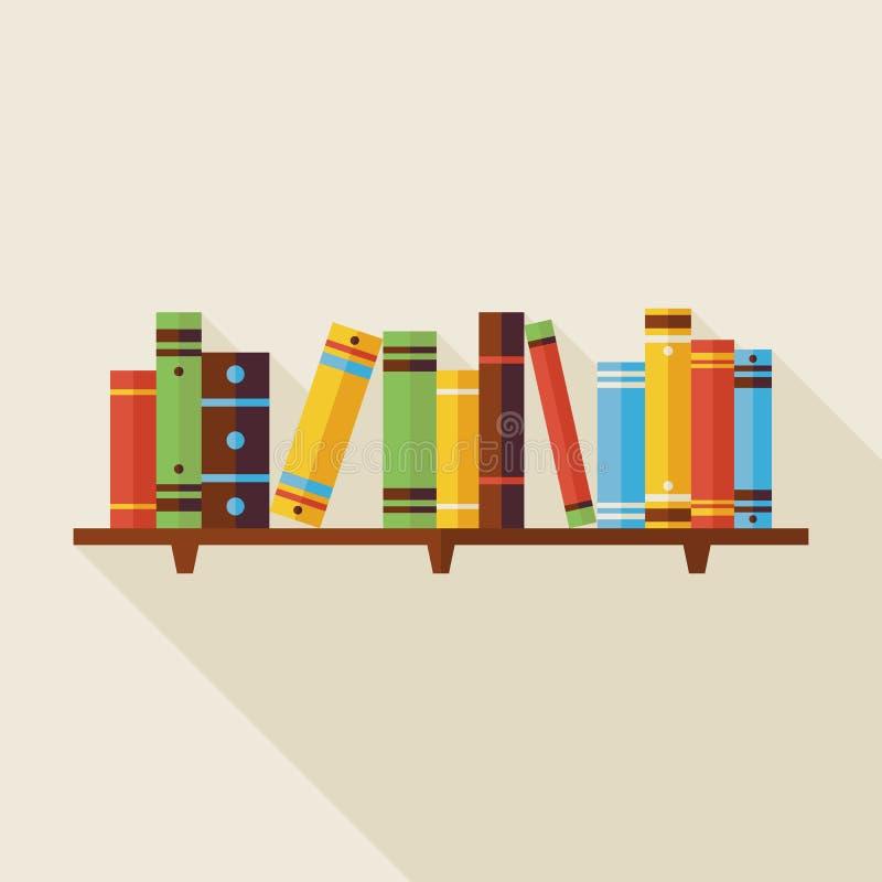 Illustrazione di libri piana della lettura dello scaffale per libri con ombra royalty illustrazione gratis