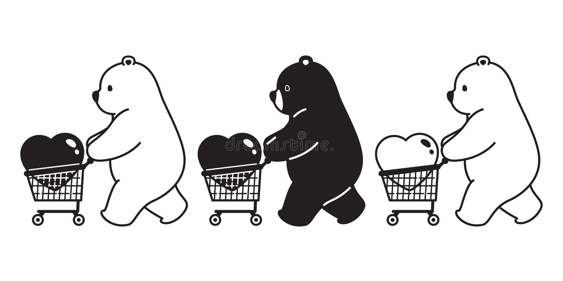 Illustrazione di logo dell'icona del personaggio dei cartoni animati della borsa del carrello del biglietto di S. Valentino del c royalty illustrazione gratis