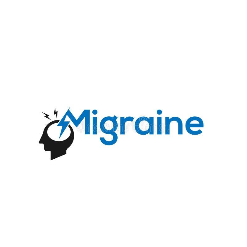 Illustrazione di logo di emicrania Logo di emicrania con la crepa in una testa Segno concettuale farmaceutico concetto dell'icona illustrazione vettoriale