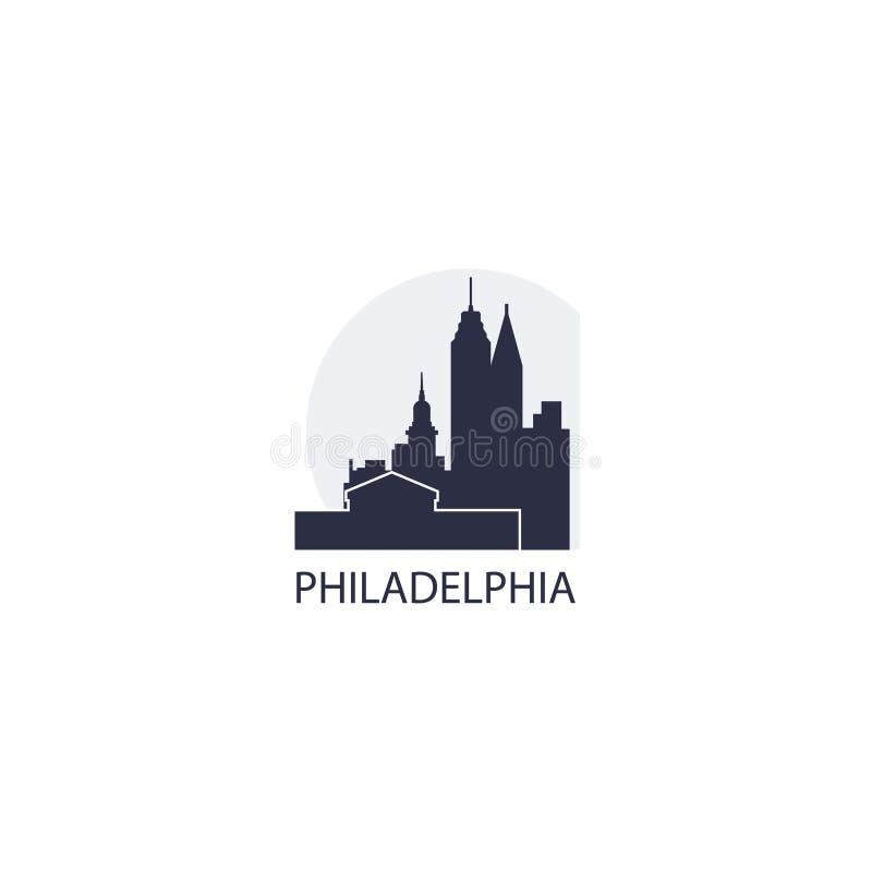 Illustrazione di logo di vettore della siluetta dell'orizzonte della città di Filadelfia illustrazione vettoriale