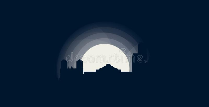 Illustrazione di logo di vettore della siluetta dell'orizzonte della città di San Antonio illustrazione di stock