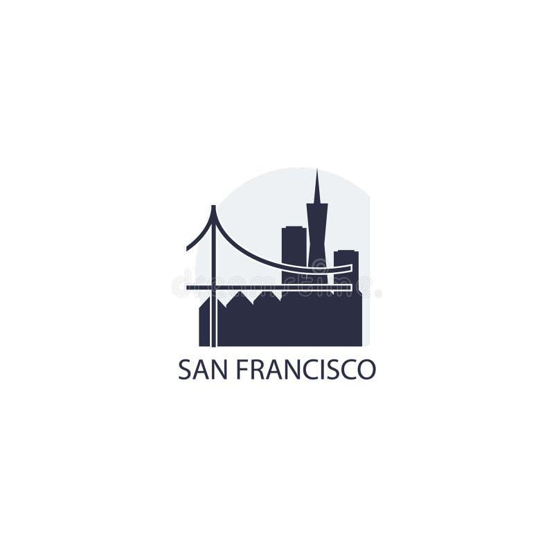 Illustrazione di logo di vettore della siluetta dell'orizzonte della città di San Francisco royalty illustrazione gratis